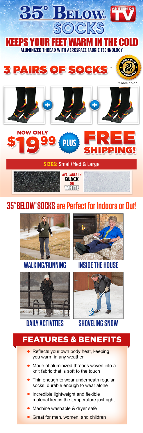 35° Below® Socks™ black option